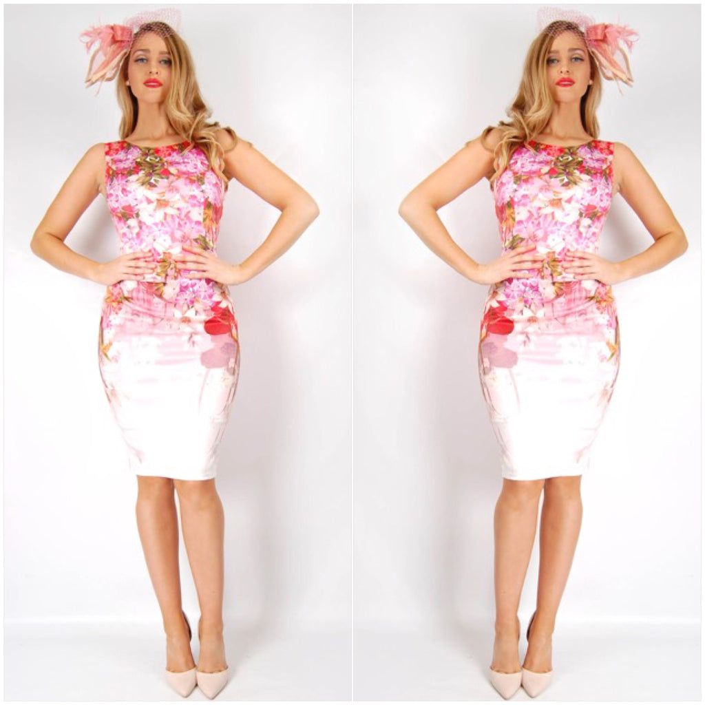 Teaberry Red And Pink Floral Print Dress