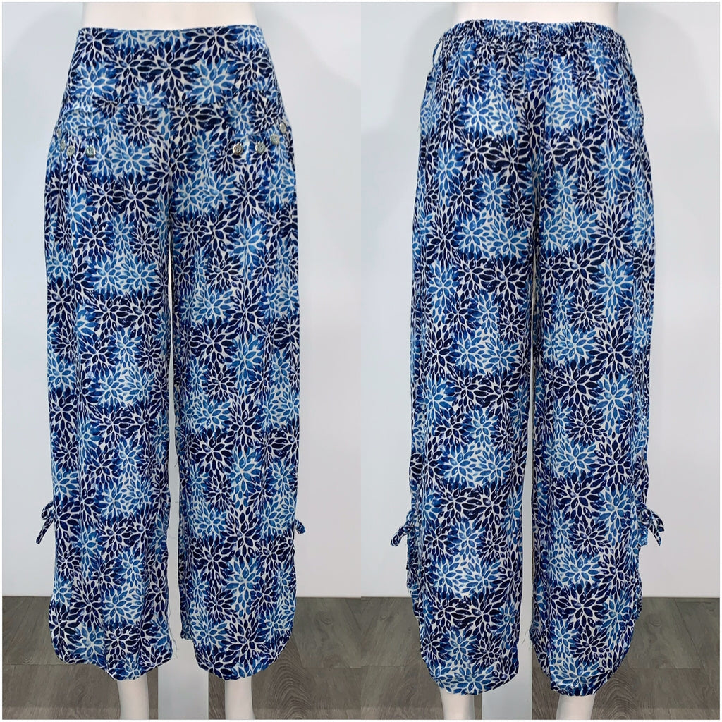 Quelque Button Detail Flower Print Harem Pants Blue