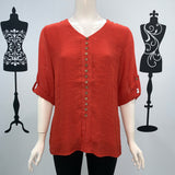 Missy Q Button Detail Long Sleeve Top Rust