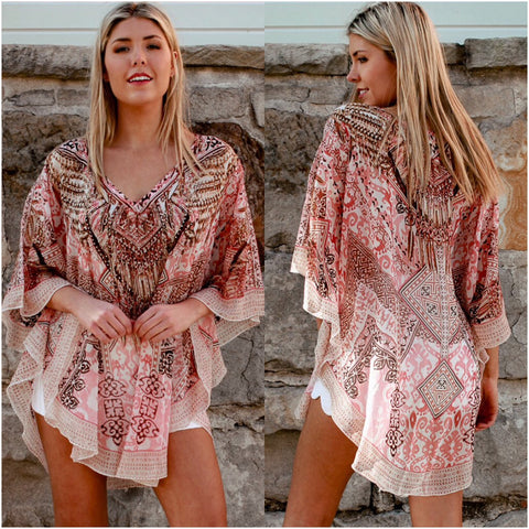 Isabella Boho Abstract Print Kaftan Blush