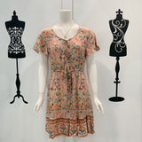 Cora Bohemian Print Dress in Dusty Peach