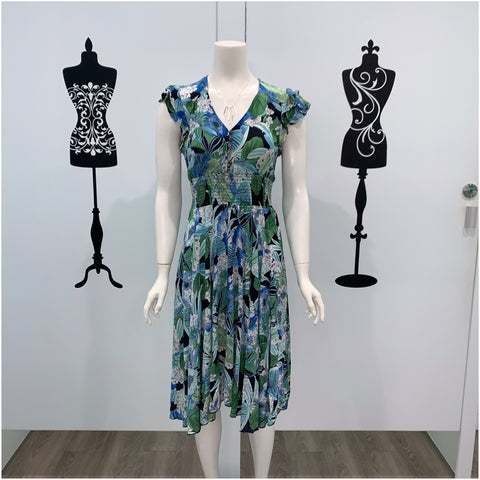 Willow Tree Daisy Print Midi Dress Blue