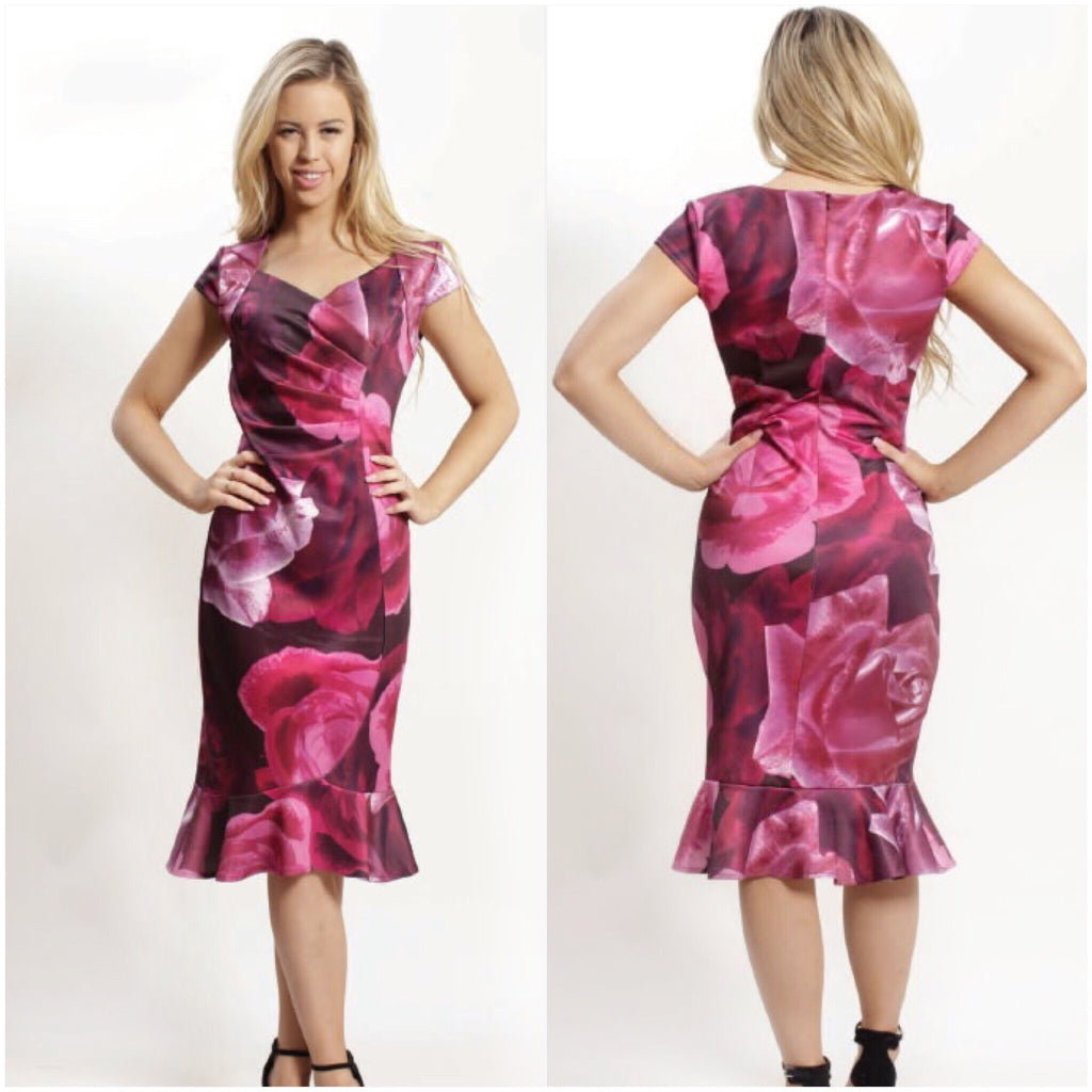 Teaberry Rose Petal Print Frill Hem Dress