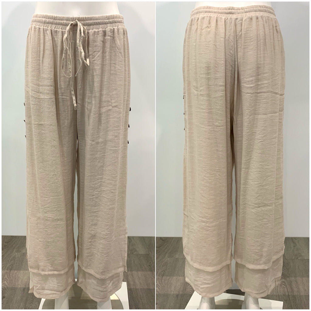 Missy Q Button Detail Resort Pants Natural