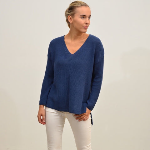 Silver Wishes V Neck Jumper Royal Blue