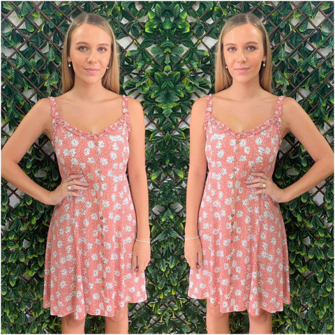 Silver Wishes Floral Print Sun Dress Blush