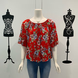 Missy Q Floral Print Frill Sleeve Top Red