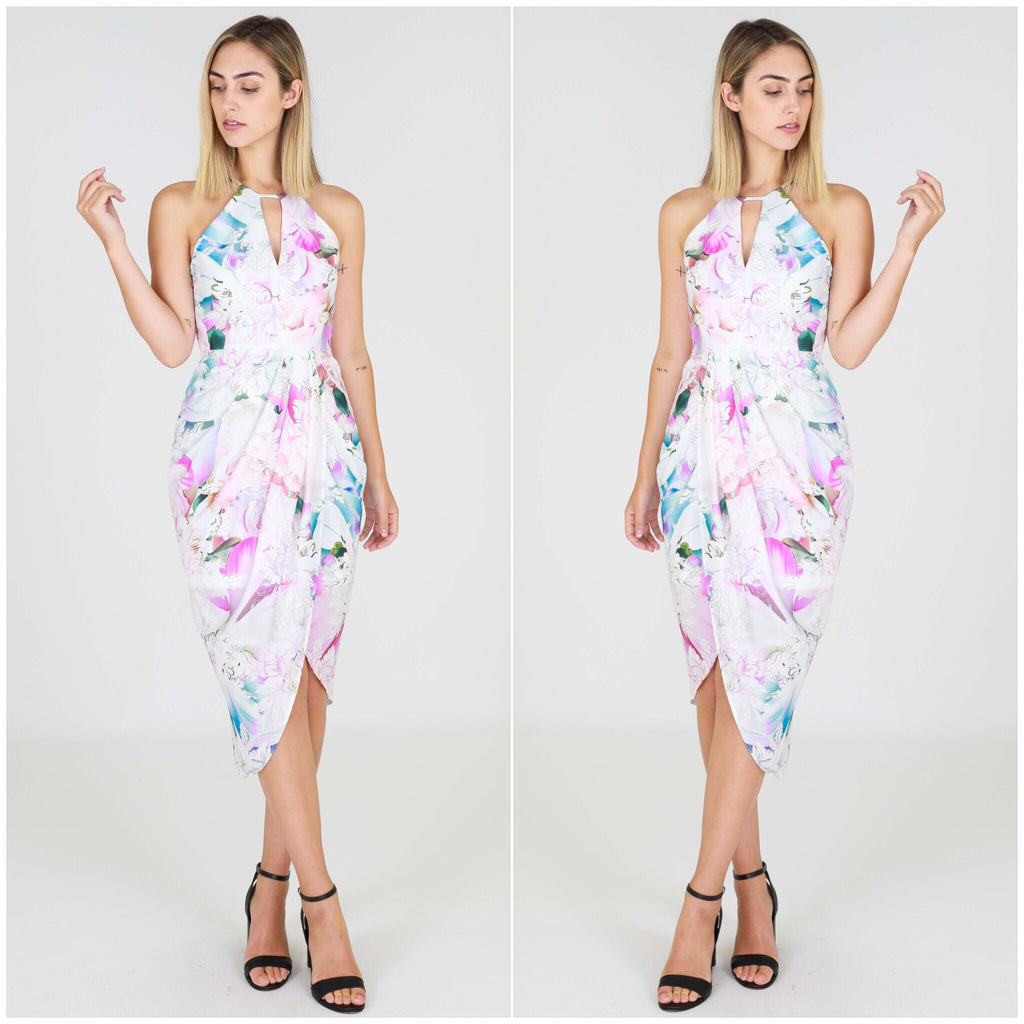 Third Love Pastel Floral Print Cut Out Dress