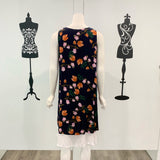 Missy Q Knot Detail Tulip Print Dress Navy