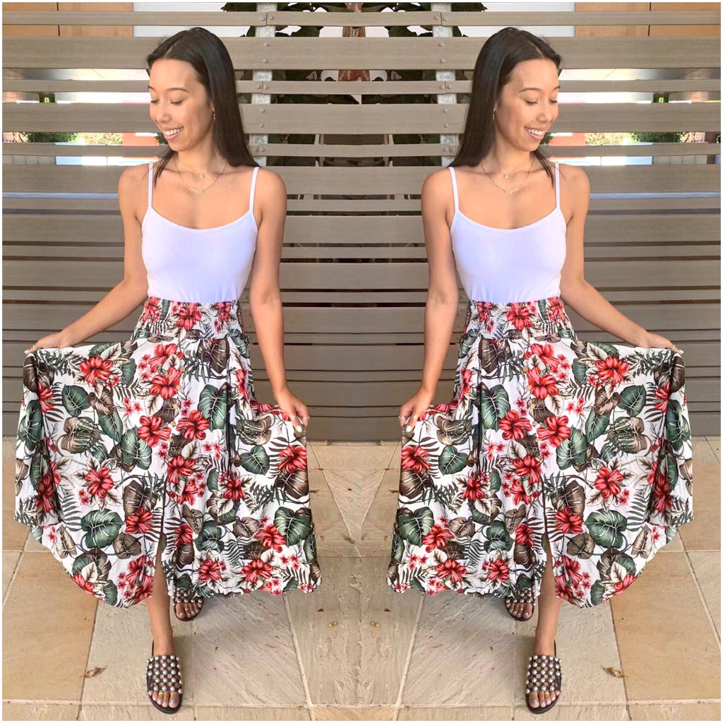 Willow Tree Hibiscus Print Maxi Skirt White