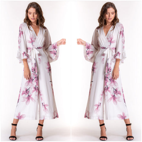 Emily Frill Sleeve Floral Jumpsuit White