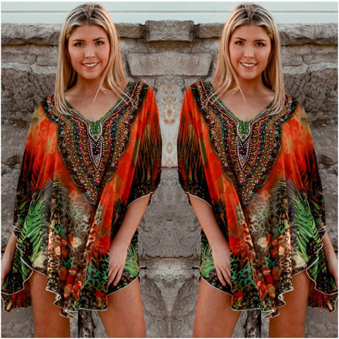 Isabella Boho Abstract Print Kaftan Orange