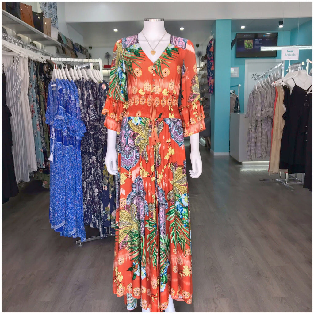 Silver Wishes Floral Paisley Print Frill Sleeve Maxi Dress Rust