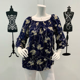 Missy Q Wildflower Print Frill Sleeve Top Navy