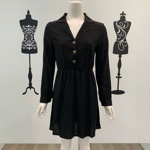 Milly Collar Detail Long Sleeve Dress Black