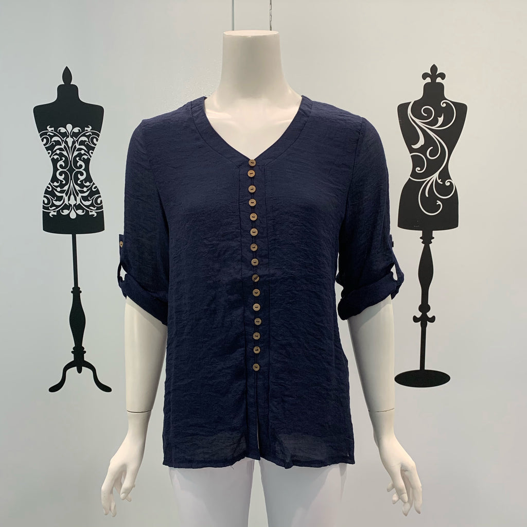 Missy Q Button Detail Long Sleeve Top Navy