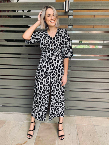 Silver Wishes Leopard Print Jumpsuit Silver