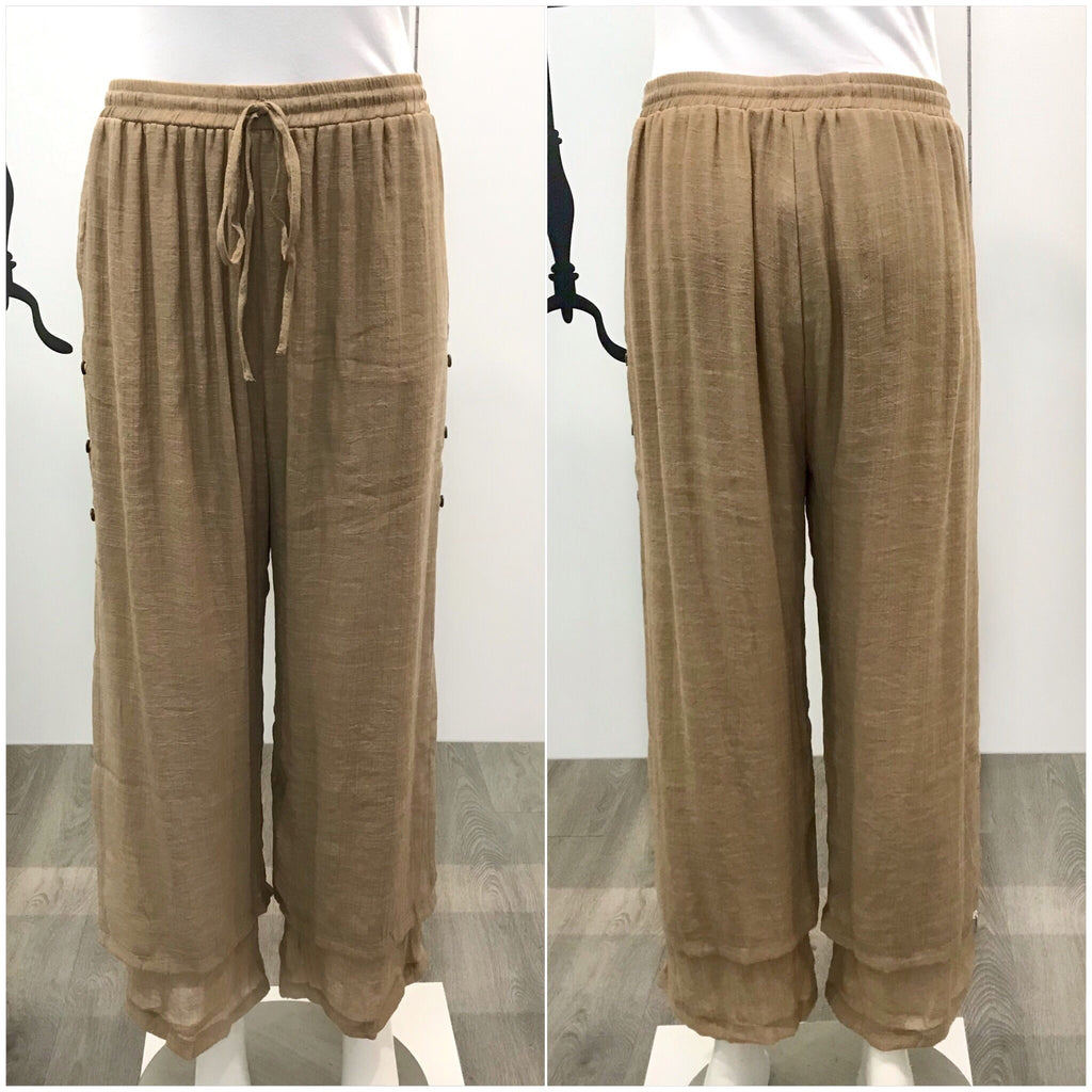 Missy Q Button Detail Resort Pants Mocha