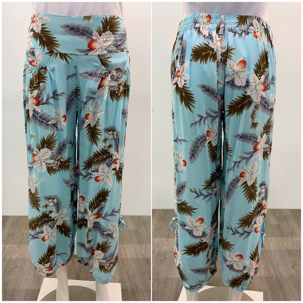 Quelque Button Detail Leaf Print Harem Pants Aqua
