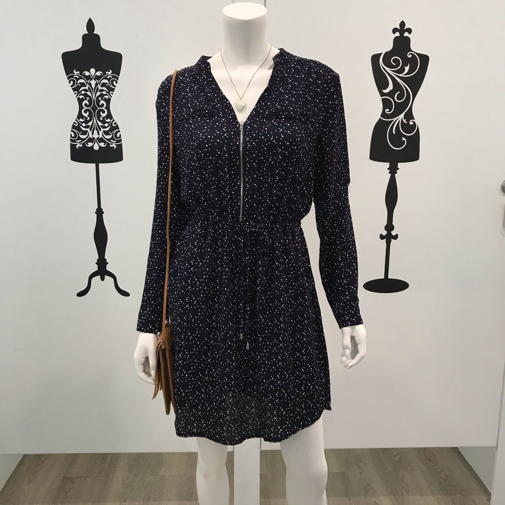 Bella Polka Dot Long Sleeve Zip Dress Navy