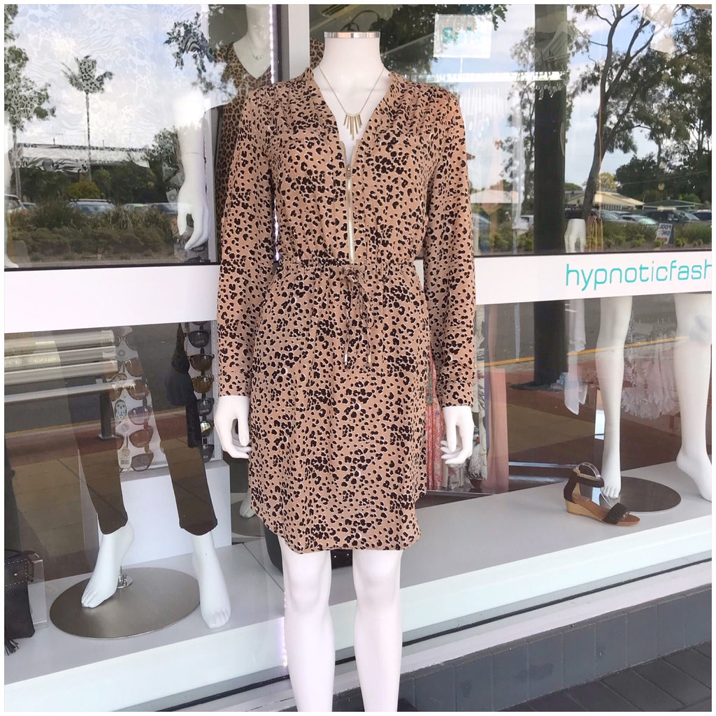 Bella Cheetah Print Long Sleeve Zip Dress