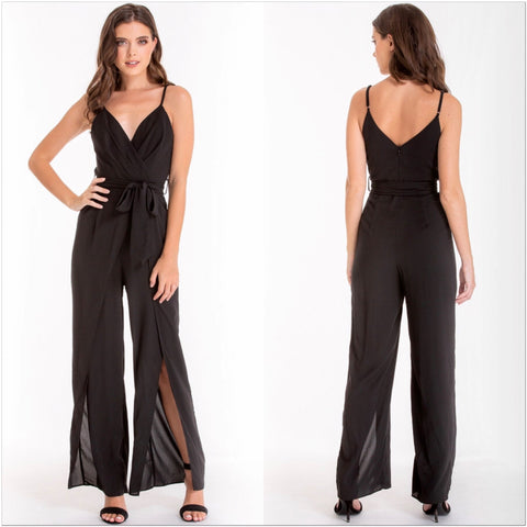 Miranda Side Split Jumpsuit Black