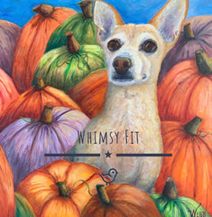 Whimsy Fit Pumpkin yoga leggings with chihuahua