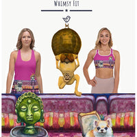 Whimsy Fit Workout Wear yoga capri leggings tank tops sports bras and bathing suits that are bright, comfortable, slimming and eye catching.  Get noticed at the gym or around town wearing sportswear with dogs and other fun themese