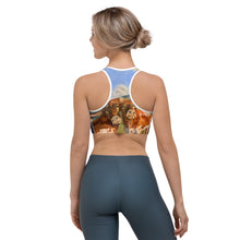 "Load image into Gallery viewer, ""Horns"" Navy Racerback Sports Bra - Whimsy Fit Workout Wear"