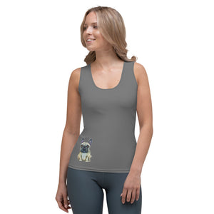 Whimsy Fit Grey Tank Top with French Bulldog - Whimsy Fit Workout Wear