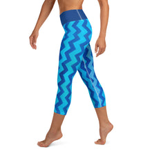 Load image into Gallery viewer, Blue Zig Zag Blue  Yoga Capri Leggings with Bunny - Whimsy Fit Workout Wear