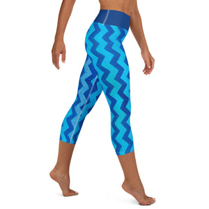 Blue Zig Zag Blue  Yoga Capri Leggings with Bunny - Whimsy Fit Workout Wear