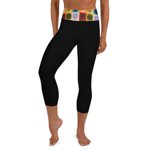 """Circles"" Waistband on BlackYoga Capri Leggings - Whimsy Fit Workout Wear"