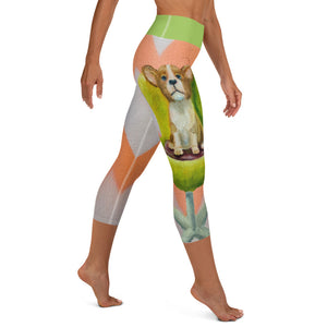"""Corgi"" Yoga Capri Leggings - Whimsy Fit Workout Wear"