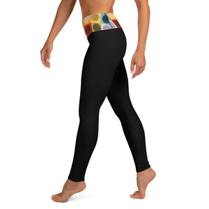 """Circles"" Waistband on Black Yoga Leggings - Whimsy Fit Workout Wear"