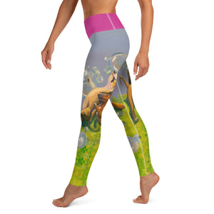 """Bubbles"" Yoga Leggings with Staffordshire Bull Terriers - Whimsy Fit Workout Wear"