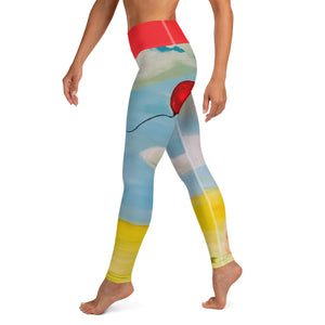"""Red Balloon"" Yoga Leggings - Whimsy Fit Workout Wear"