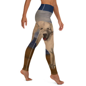 Great Pyrenees on Beach Yoga Leggings - Whimsy Fit Workout Wear