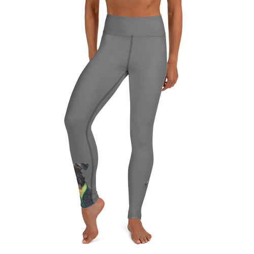 Grey Yoga Leggings with Schnauzer - Whimsy Fit Workout Wear