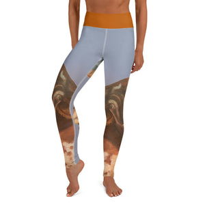 "Whimsy Fit ""2 Horns"" Yoga Leggings with Burnt Orange Waistband - Whimsy Fit Workout Wear"