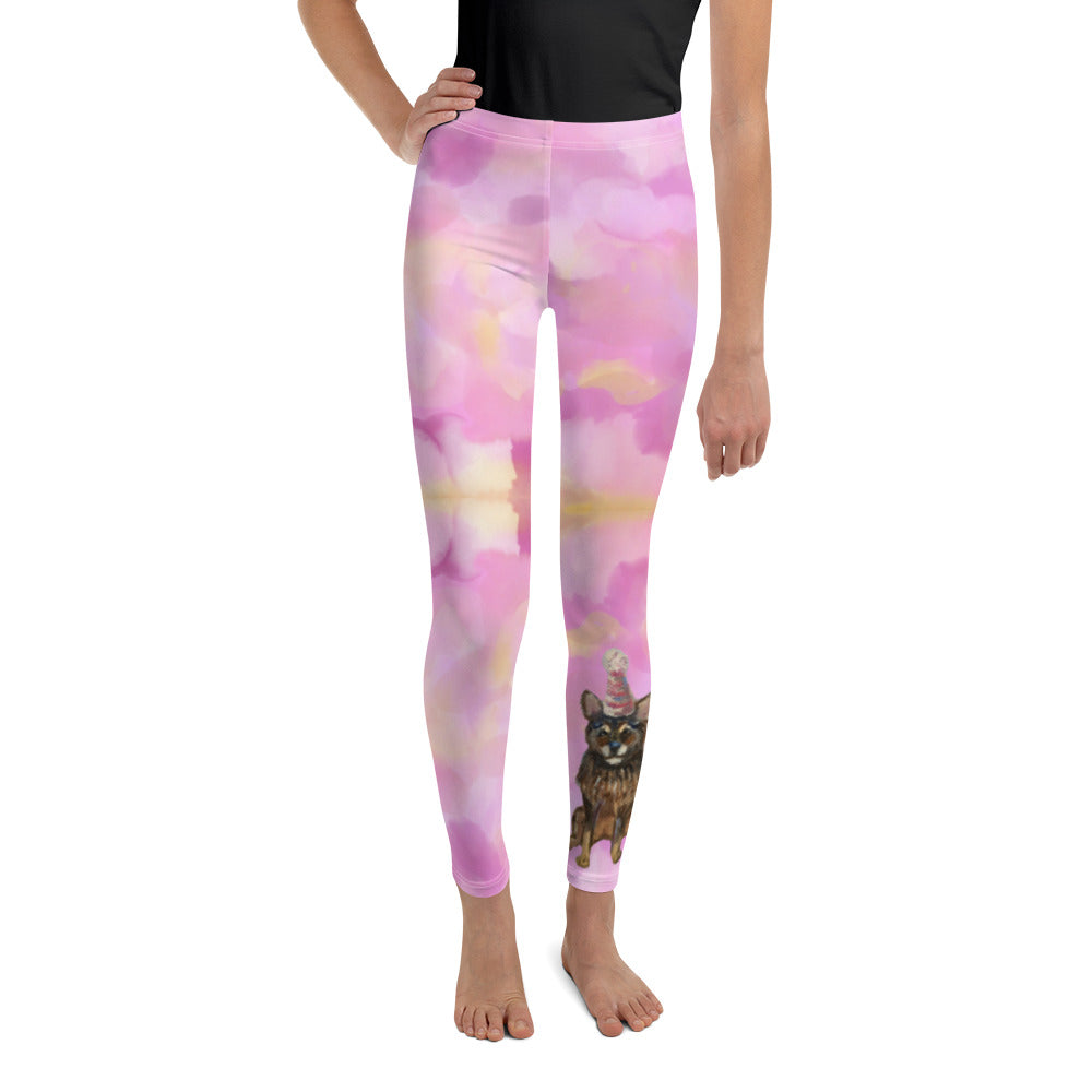 "Whimsy Fit ""Cotton Candy - Party Dog"" Girls Leggings - Whimsy Fit Workout Wear"