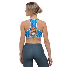 Load image into Gallery viewer, Blue Zig Zag Sports bra with Pomeranian - Whimsy Fit Workout Wear