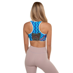 Blue Zig Zag Padded Sports Bra with Chow Chow - Whimsy Fit Workout Wear