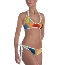 "Load image into Gallery viewer, Reversible  ""Breeze Bright"" and ""Circles"" Bikini - Whimsy Fit Workout Wear"
