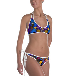 "Reversible  ""Breeze Bright"" and ""Circles"" Bikini - Whimsy Fit Workout Wear"