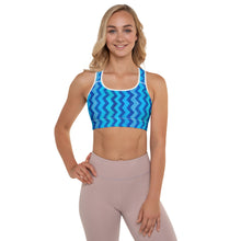Load image into Gallery viewer, Blue Zig Zag Padded Sports Bra with Chow Chow - Whimsy Fit Workout Wear