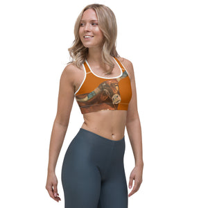 """Horns"" Burnt Orange Racerback Sports Bra - Whimsy Fit Workout Wear"