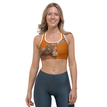 "Load image into Gallery viewer, ""Horns"" Burnt Orange Racerback Sports Bra - Whimsy Fit Workout Wear"