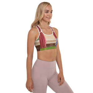 """Waiting for Mom"" Padded Sports Bra - Whimsy Fit Workout Wear"