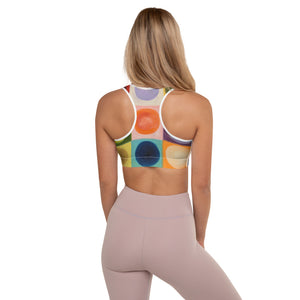 """Corgi"" Padded Sports Bra with ""Circles"" on backside - Whimsy Fit Workout Wear"
